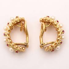 gold hoop earrings cartier italy pearl ruby gold hoop earrings at 1stdibs