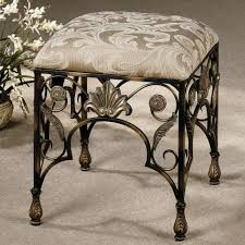 antique wrought iron small bathroom bench with waverly pattern pad