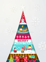 creative modern design christmas tree with different sights stock
