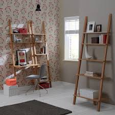 Natural Oak Leaning Shelves With Ingenious Ladder Shelf Ideas Home Accessories Segomego Home Designs