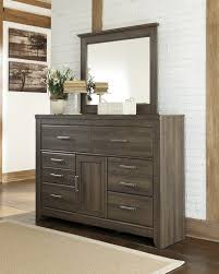 Bedroom Dresser Mirror Juararo Collection Rustic Look Aged Brown Sawn Finish