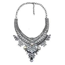 gold vintage statement necklace images Vintage anti silver gold tone long boho statement necklace jpg