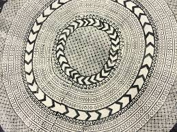 rugs marrakech round black grey white