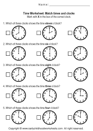 clock worksheets matching time and clocks worksheets worksheet