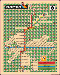Marta Train Map Atlanta U0027s Marta Map U2013 Super Mario 3 Style U2013 Dave U0027s Geeky Ideas