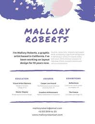 graphic design resume layouts white with purple brushstrokes graphic design resume templates