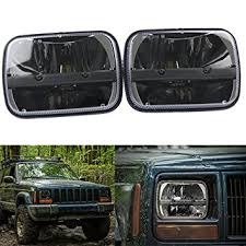 jeep wrangler square headlights amazon com pair square 5 x 7 inch daymaker led headlight high