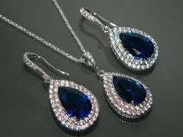 bridesmaid jewelry sets navy blue cz bridal jewelry set royal blue earrings necklace set