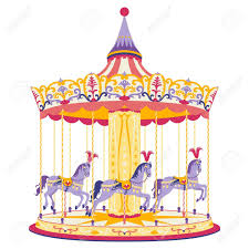 illustration of merry go with three with horses royalty