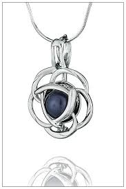 flower silver necklace images Flower silver pearl cage jpg