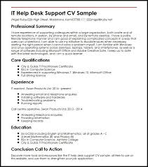Microsoft Office Help Desk It Help Desk Support Cv Sample Myperfectcv
