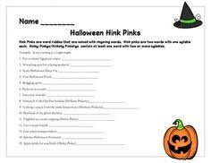 thanksgiving hink pinks vocabulary riddles rhyming words and school