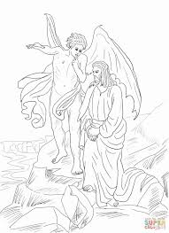 jesus tempted in the desert coloring page free printable