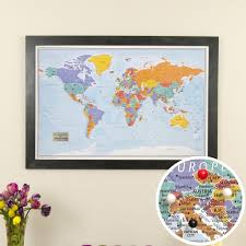 travel world map blue world map world map poster with pins