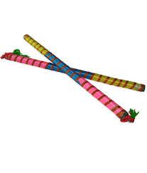 dakshcraft multicolour wooden dandiya stick set of 2 buy