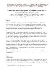 considerations on design optimization criteria for windows