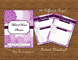 of honor planner of honor planner organizer floral printable by