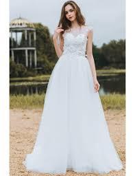 flowing wedding dresses modest lace a line wedding dress cheap boho cap sleeves