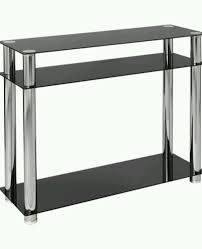 contemporary modern rectangle black glass console table with shelf