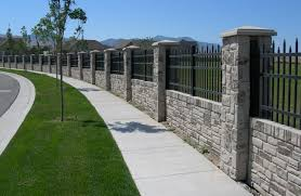 Outdoor Fence Decor Ideas by Privacy Fencing Concrete Walls With Realistic Stone Texture And