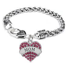 pink heart bracelet images Mom charm bracelets adorable pink mother heart jpg