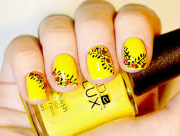 easy yellow and black nail art for short nails youtube
