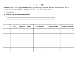 Coping Skills For Anxiety Worksheets How I Feel Worksheet Psychpoint