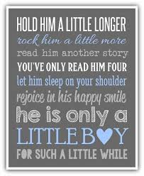 baby boy sayings hold him a longer sign print canvas custom colors boy