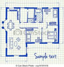vector clip art of illustration of floor plan doodle on