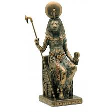 sekhmet egyptian goddess with knives statue bronze or black and