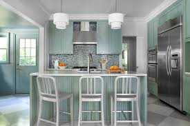 waterfall countertop island kitchen contemporary with painted