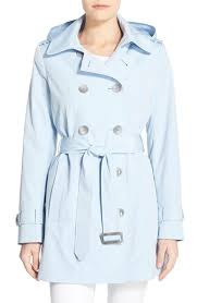 light blue trench coat lyst calvin klein double breasted trench coat in blue