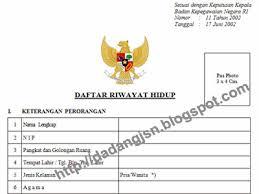 form daftar riwayat hidup pdf blangko formulir daftar riwayat hidup berdasarkan kepka bkn no 11