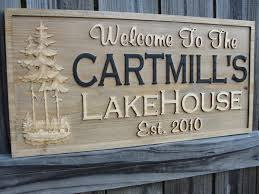 personalized family name sign carved cabin sign decor rustic lake