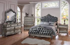Antique Finish Bedroom Furniture by Acme 4 Pc Chantelle Bedroom Set Antique Platinum Usa Furniture