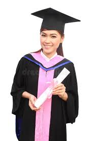 graduation cap and gowns woman with graduation cap and gown with arm raised stock photo