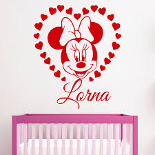 minnie mouse nursery promotion shop for promotional minnie mouse customized name home decor wall decals cute cartoon minnie mouse nursery kids room removable vinyl wall sticker m762