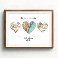 wedding gift map new home housewarming gift heart map personalize map3 heart