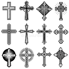 catholic crosses catholic christian cross with ornament vector icons set stock