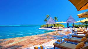 beaches tropical gazebo beachchairs water sea palms desktop