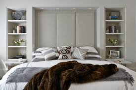 bookcase headboard queen bedroom contemporary with apartment
