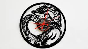 Art Wall Clock by The Dragon Vinyl Record Clock Dragon Clock Dragon Wall Art Fire