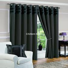 denver faux silk fully lined dark grey eyelet curtains