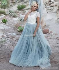 blue wedding dresses discount light blue wedding dresses white lace sheer detachable