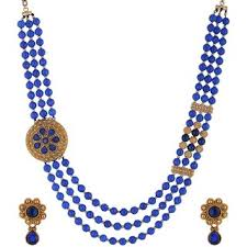 blue beads necklace images Buy bead designs blue beads necklace and earrings set online get jpg