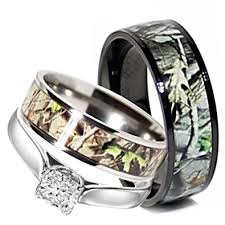 camo wedding rings set his and hers 3 rings set