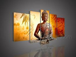 5 piece canvas wall art hand painted palette knife oil buddha paper mache textured painting google search projects to