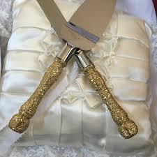 wedding gift gold gold cake cutting set gold glitter cake cutting set wedding