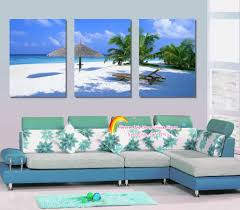3 piece canvas wall art beach and palm tree painting canvas