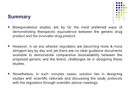 challenges in the design of comparative bioavailability studies
